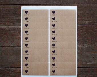 XOXO - 40 Valentine Kraft Labels