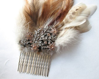 Flower hair comb | silver fascinator | rhinestone | floral headpiece