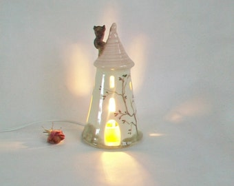 Fairytale Tower with a Pink Roof -- Rapunzel - Night Light - Fairy House - Wheel Thrown - Hand Painted - Ready to Ship Now