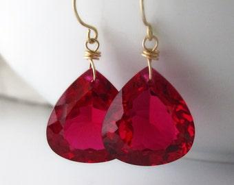 14k Gold Red Topaz Earrings, 14k Red Topaz Drop Earrings, 14k Gold Red Topaz Dangle Earrings