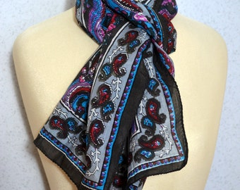 Long vintage scarf: Indian Modern Paisley Arabesque Black, Pink and Turquoise