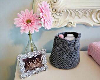 Grey Owl Basket Crocheted Bin Yarn Holder Nursery Decor Home Organizer