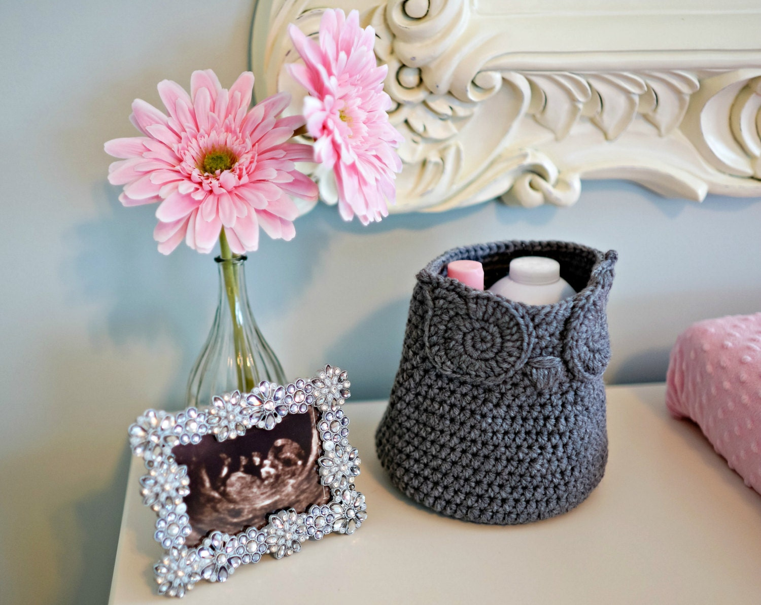 Crochet Owl Basket : Grey Owl Basket Crocheted Bin Yarn Holder by AandBDesignStudio