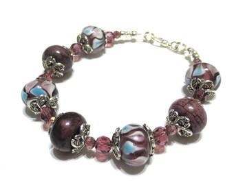 Purple Lampwork Bead Bracelet, Cornflower Blue, Deep Purple Sugilite Beads, Swirled Glass Beads, Detailed Silver, Small Gemstone Bracelet