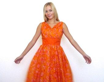 50s Orange Paisley Printed Full Skirt Bombshell Dress xxs xs