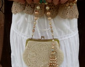 Vintage Beaded Bridal Bag, Something Old,  Recycled Handle/Matching Bracelet, Bridal Accessories, Special Occasion, Retro