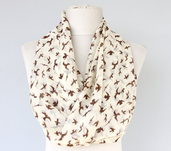 Bird print scarf animal print infinity scarf seagull printed nature sea design women scarves fashion accessories spring summer