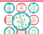 """Modern Love Bottle Cap 1"""" Circles Images - Valentine's Day, Love Sayings, Pink and Blue - NO.236"""