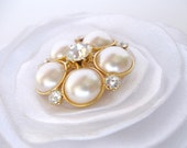 White Flower Hair Clip and brooch pin, Pearl Crystal Bridal Wedding Floral Hair Piece