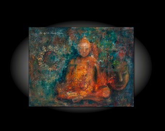 Contemplation. Canvas Hand Embellished Original Matted Painting-Print by Fae Factory Fine Artist Dr Franky Dolan (Buddha Wall Art Print)