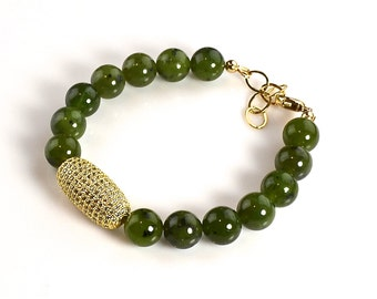 "LP 1250  ""One Bracelet Only""  Round Jade Beaded Bracelet With A Swarovski Crystal Rhinestone Barrel Bead In A Pave Setting"