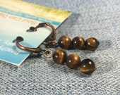Tigereye brown stone antique copper earrings - leverback - handmade gemstone simple casual jewelry women girl lever back metaphysical