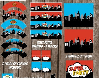 INSTANT DOWNLOAD -Superhero Party Pack, Superhero Party Printables, Superhero Party Decor, Superhero Birthday Party, Superhero Party Package