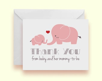 Set of 10 - Pink Elephant Baby Shower Thank-You Cards