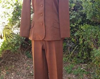80's suit set jacket and high waist slacks pants David Bowie new wave look brown houndstooth preppy women's preppy