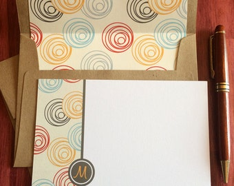 SALE  Swirlies - Letter M - Monogram Note Card Set with Hand Lined Kraft Envelopes | teacher's gift, personalized stationery, note cards