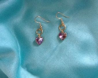 Swarovski lavender crystal heart earrings.