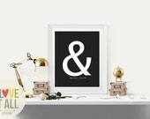 "Modern Valentine Gift . Graphic Typography Ampersand Love Print . Personalized You And Me ""&"" Punctuation Symbol Poster Wedding Anniversary"
