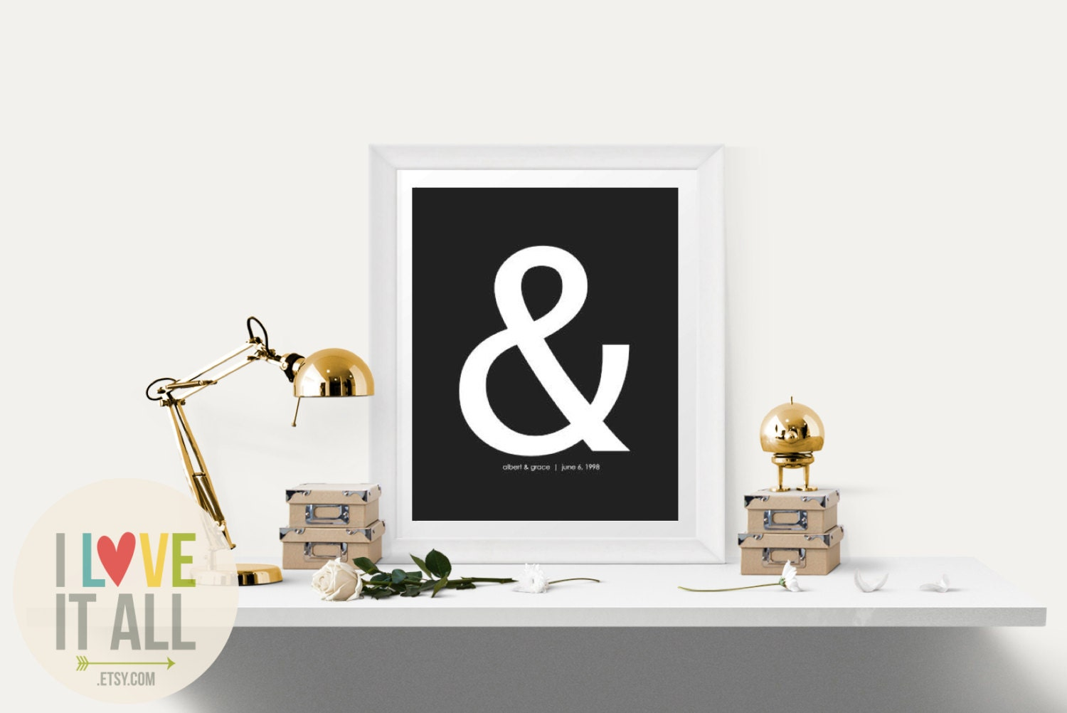 Ampersand modern bedroom decor wedding gift graphic for Ampersand decor
