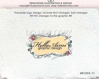 Custom logo, Premade Logo Design - sketch hand drawn frame border swirl vitnage illustration photography boutique logo by princessmi 1203-11