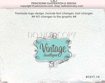 1217-14 whimsical frame logo scrolling logo, doodle frame, boutique logo,boutique logo, photography logo, premade Logo Design,