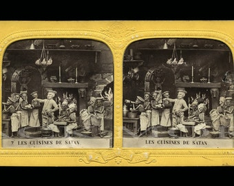 Beautiful 1860s Satan & Skeletons Tissue Stereoview / The Devil's Kitchen - RARE