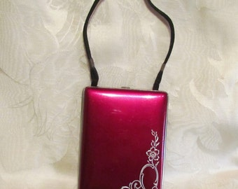 1930s Mondaine Compact Purse Silver Burgundy Red Enamel RARE