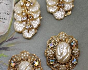 2 pr. Baroque Pearl and Rhinestone Clip On Earrings