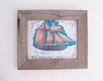 Beach Decor Framed Ship Art Print in Reclaimed Barn Wood Frame Shabby Chic Decor Rustic Beach Kids Room Beach Baby Nursery Wedding Gift