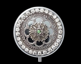 Silver Pill Box Secret Treasure Box Filigree Flower with Green and Clear Rhinestone Crystals by Dr Brassy Steampunk