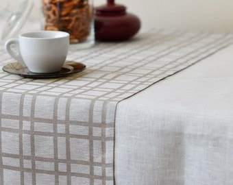 Plaid Linen Table Runner Checked Natural Runner Tartan Gray Linen With White, Eco Friendly Linen Table Runner