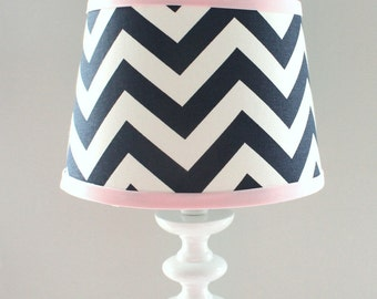 IN STOCK Small Pink and Navy Chevron lamp shade.  Other colors available.