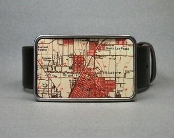 Belt Buckle Las Vegas Vintage Map Nevada Unique Gift for Men or Women Groomsmen