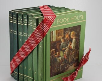 My Book House Olive Beaupré Miller Green Childrens Decor Books Props 7 Volumes 1965