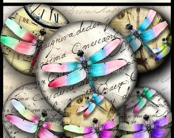 INSTANT DOWNLOAD Colorful Dragonflies (717) 4x6 and 8.5x11 12mm circles Printable Digital Collage Sheet glass tiles cabochon earrings images