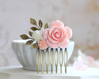 Pink Rose Ivory Flower Hair Comb Floral Hair Accessory Vintage Style Garden Wedding Bridal Hair Comb Bridesmaids Gift Collage Hair Comb