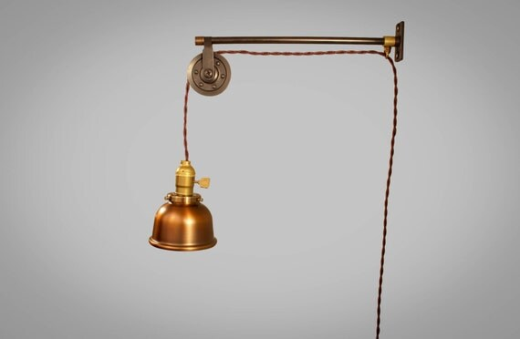 Vintage Industrial Pulley Light - Copper Cup Shade - Industrial Pulley Lamp - Wall Mount Light - Steampunk Sconce - Industrial Lighting