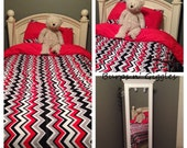 Reversible Duvet Cover Toddler Twin Full Queen King Chevron Red Black Gray