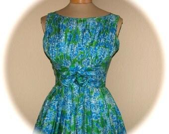 On Sale Vtg 60s NEIMAN MARCUS Silk Blue Green Floral Sun Dress Misses 2 XS Mad Men