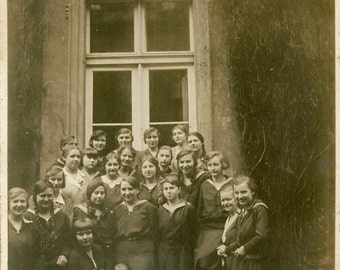 "Vintage Photo ""Teenage Girl Power"" Group Snapshot Photo Antique Photo Black & White Photograph Found Photo Paper Ephemera Vernacular - 86"