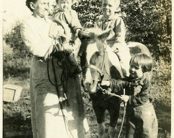 "Vintage Photo ""First Pony Ride"" Snapshot Photo Old Antique Photo Black & White Photography Found Photo Paper Ephemera Collectible - 125"