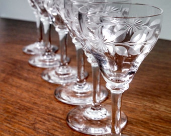Crystal, Sherry or Cordial Stemware Glasses, Set of 6 with etched starburst flower and leaves