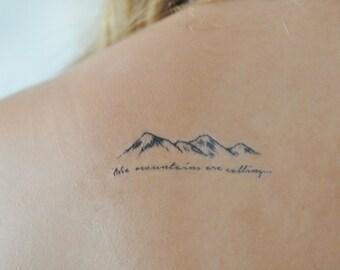 Mountains Temporary Tattoo, Small Temporary Tattoo, Tattoo Temporary, Nature Art, Black, Quote Temporary Tattoo, Temporary Tattoo Set