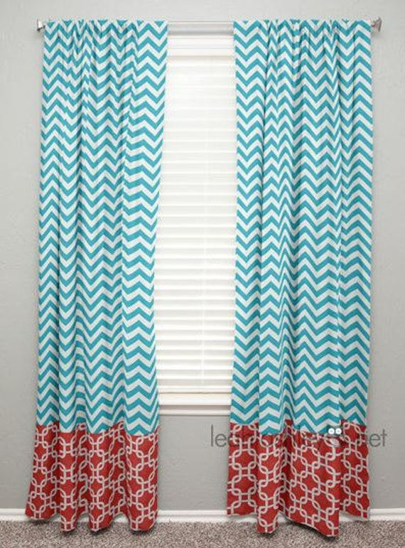 curtain panel with banding turquoise chevron by leahashleyokc