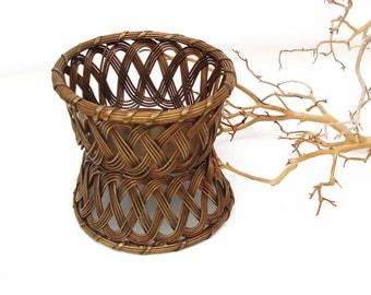 Vintage Brass Basket | Double Sided Basket | Bottle Holder | Small Wire Basket | Bottle Coaster