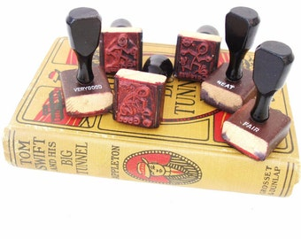 Vintage Rubber Stamps Set Teacher Stamps Stick Figures School Grades Letterpress Blocks Wooden Handles