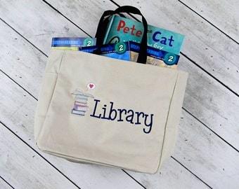 Library Tote- Book Tote Bag- Teachers Tote Bag- School Tote Bag- Book Bag