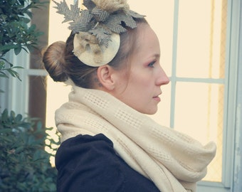 Oatmeal Thistle Ivory Harris Tweed fascinator hat
