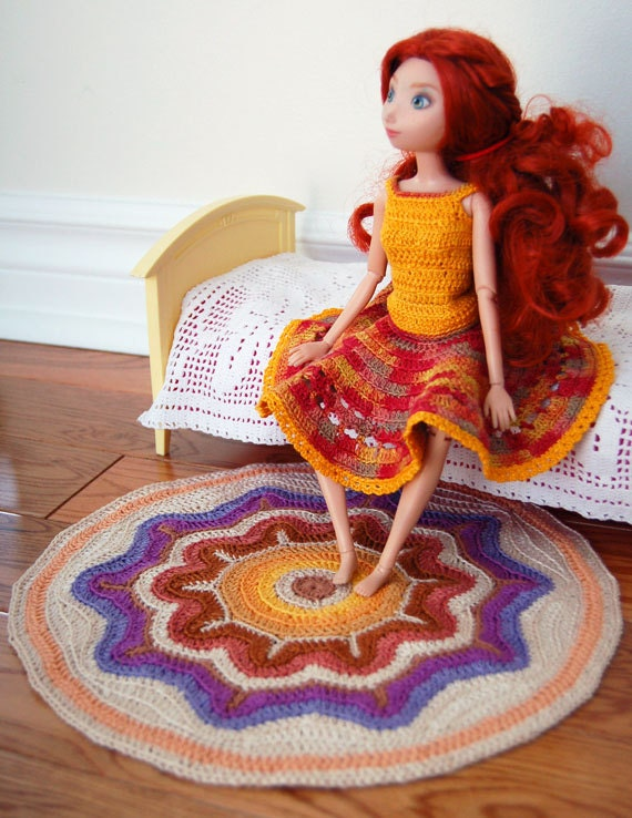 Star Wars Crochet Doll Pattern : Items similar to Crochet Rug / Blanket for Doll House with ...