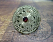 Steampunk Watch Face Ring with Red Iridescent Swarovski Crystal - Great for a Christmas gift!